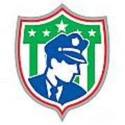 Security Guard Police Officer Shield Print by Aloysius Patrimonio