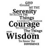 Serenity Prayer 6 - Simple Black And White Print by Sharon Cummings