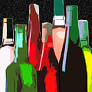 Seven Bottles Of Wine On The Wall Print by Elaine Plesser