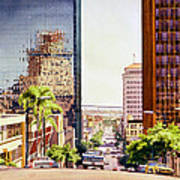 Seventh Avenue In San Diego Print by Mary Helmreich