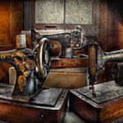 Sewing - A Chorus Of Three Print by Mike Savad