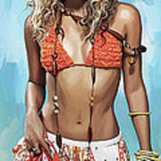 Shakira Artwork Print by Sheraz A