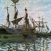 Ships In Harbor Print by Claude Monet - L Brown