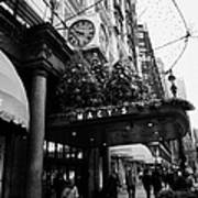 shoppers walk past entrance to Macys department store on Broadway and 34th street at Herald square Print by Joe Fox