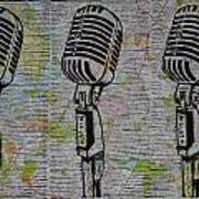 Shure 55s On Map Print by William Cauthern