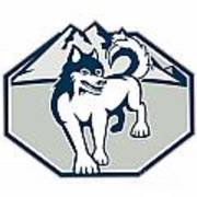 Siberian Husky Dog Mountain Retro Print by Aloysius Patrimonio