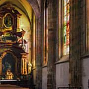 Side Chapel Of St Barbara Print by Joan Carroll
