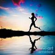 Silhouette Of Woman Running At Sunset Print by Michal Bednarek