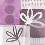 Simple Flowers- Contemporary Painting Print by Linda Woods