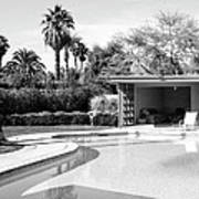 Sinatra Pool And Cabana Bw Palm Springs Print by William Dey