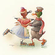 Skating Ducks 9 Print by Kestutis Kasparavicius