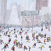 Skating Rink Central Park New York Print by Judy Joel