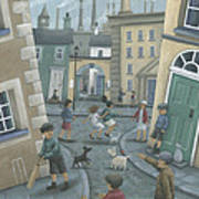 Skipping By The Green Door Print by Peter Adderley