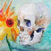 Skull And Sunflower Print by Fabrizio Cassetta