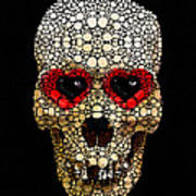 Skull Art - Day Of The Dead 3 Stone Rock'd Print by Sharon Cummings