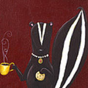 Skunk With Coffee Print by Christy Beckwith