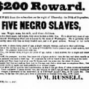 Slave Family And Children Escape - Reward Poster - 1847 Print by Daniel Hagerman
