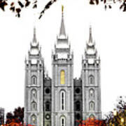 Slc White N Red Temple Print by La Rae  Roberts