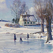 Sledging On A Frozen Pond Print by Peder Monsted
