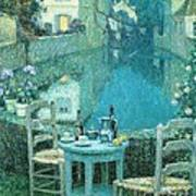 Small Table In Evening Dusk Print by Pg Reproductions