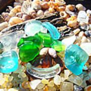 Smiley Face Beach Seaglass Blue Green Art Prints Print by Baslee Troutman