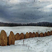 Snow Covered Hay Bales Print by Kathy Jennings
