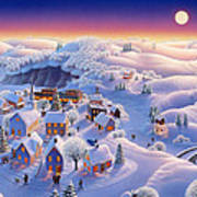 Snow Covered Village Print by Robin Moline