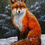 Snow Fox Print by Crista Forest