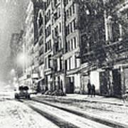Snow - New York City - Winter Night Print by Vivienne Gucwa