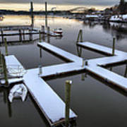 Snow On The Docks Print by Eric Gendron