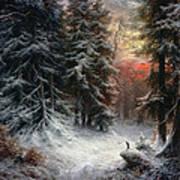 Snow Scene In The Black Forest Print by Carl Friedrich Wilhelm Trautschold
