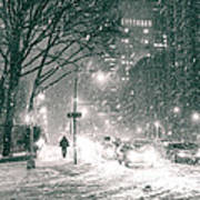 Snow Swirls At Night In New York City Print by Vivienne Gucwa