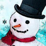 Snowman Christmas Art - Frosty Print by Sharon Cummings