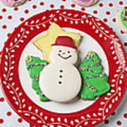 Snowman Cookie Plate Print by Garry Gay