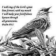 Songbird Drawing With Scripture Print by Janet King