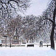 Southampton Watts Park In The Snow Print by Martin Davey