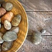 Spa Rocks In Wooden Bowl On Rustic Wood Print by Sandra Cunningham