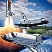 Space Shuttle Montage Print by Stu Shepherd