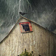 Spooky Old Barn With Crows On A Stormy Night Print by Sandra Cunningham