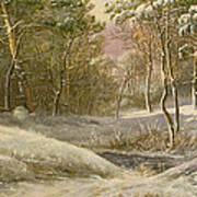 Sportsmen In A Winter Forest Print by Pieter Gerardus van