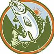 Spotted Speckled Trout Fish Jumping Print by Aloysius Patrimonio