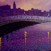 Spring Evening Ha Penny Bridge Dublin Print by John  Nolan