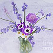 Spring Flowers In A Jam Jar Print by Ann Garrett