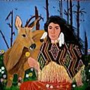 Squaw With Deer Print by Linda Egland