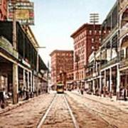 St Charles Street New Orleans 1900 Print by Unknown