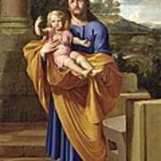 St. Joseph Carrying The Infant Jesus Print by Pierre  Letellier