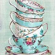Stacked Aqua Themed Tea Cups Print by Gail McCormack
