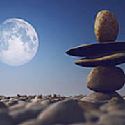 Stacked Stones In Sunlight Witt Moon Print by Aleksey Tugolukov