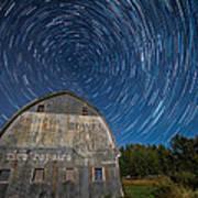 Star Trails Over Barn Print by Paul Freidlund