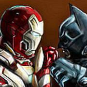Stark Industries Vs Wayne Enterprises Print by Vinny John Usuriello